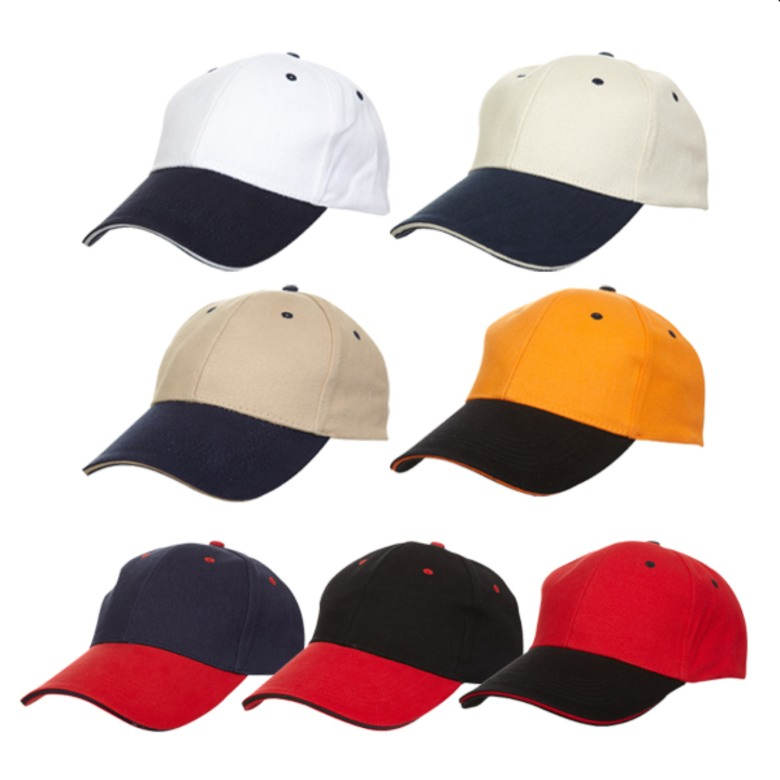 Dual Colour Baseball Cotton Cap (6 panels)