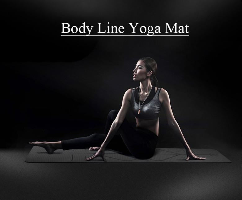 Non-skid Yoga Mat with body line