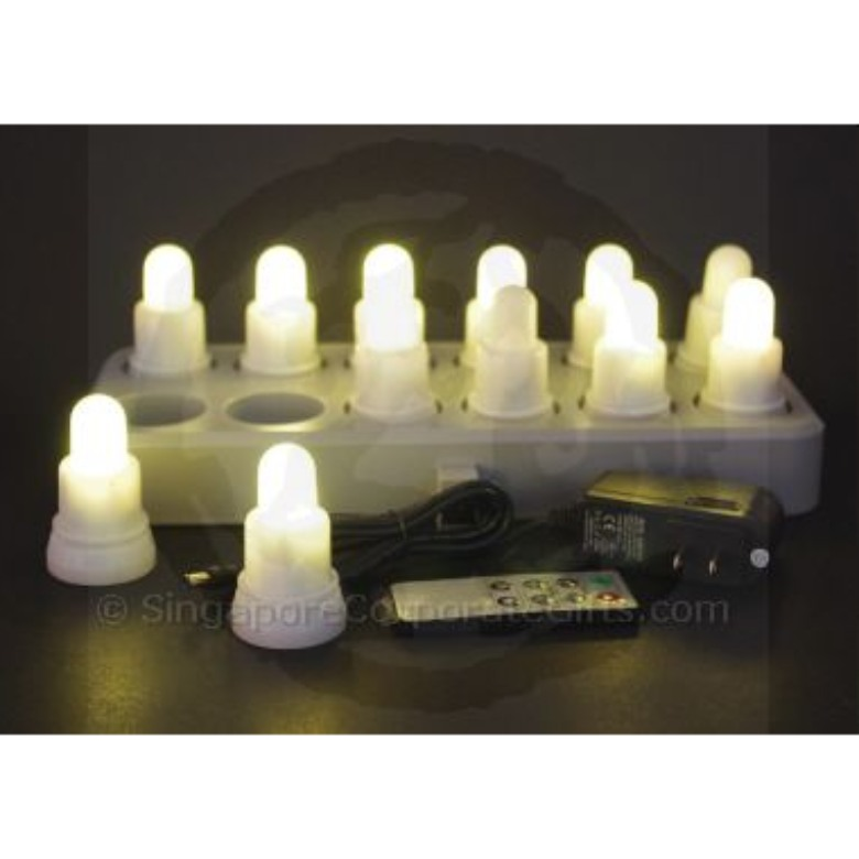 Rechargable 12 Super Bright LED Candle (Single Colour)-remote