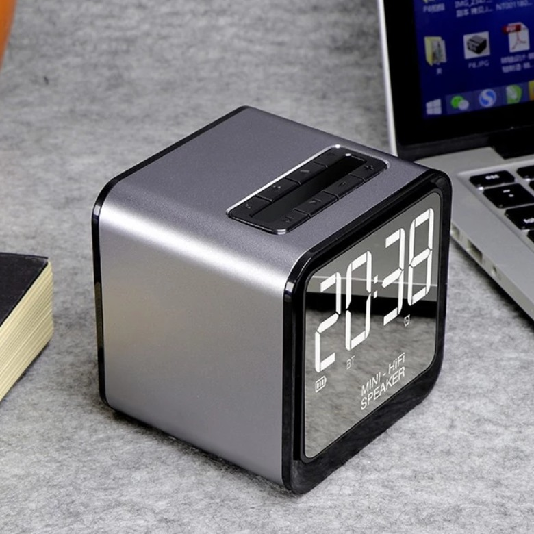 Waterproof Bluetooth Speaker with Mirror and Clock