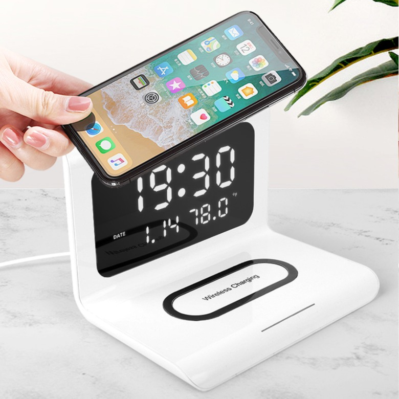 Wireless Charger with Clock, Calendar and Thermometer