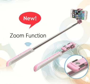 Selfie MonoPod with bluetooth shutter and zoom function